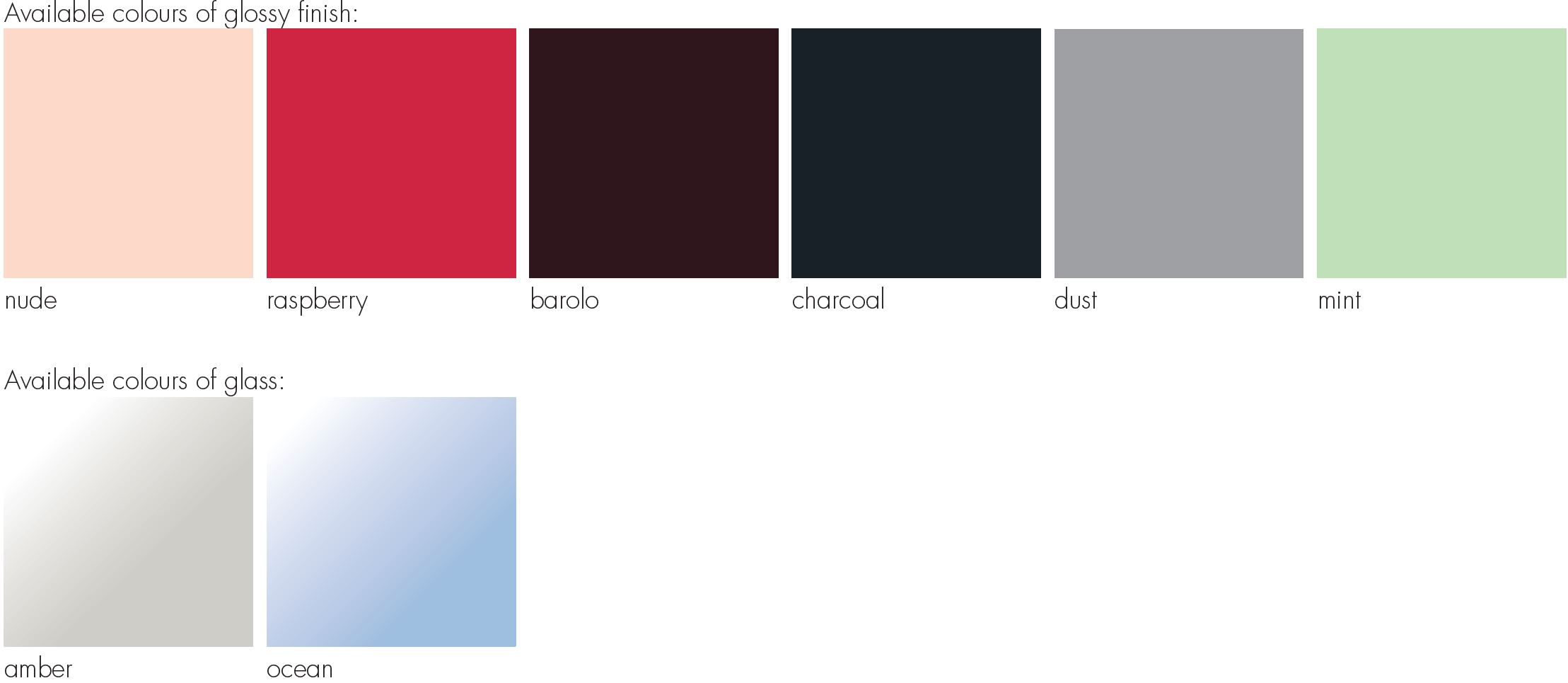 Tilda Table colours